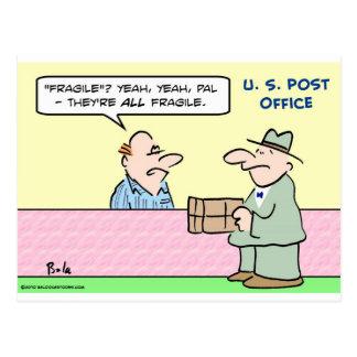 post office all fragile postcard
