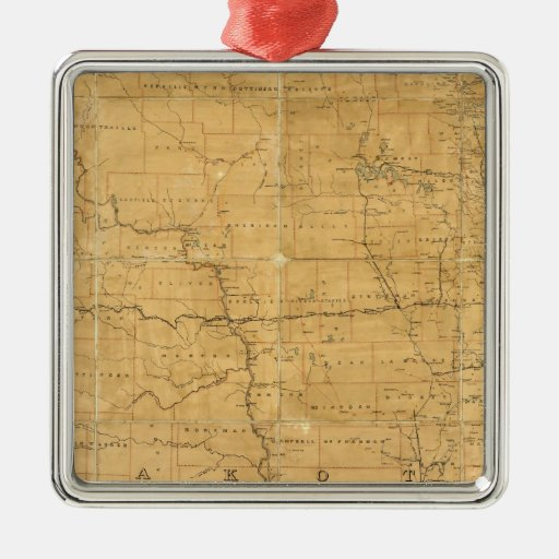 Post route map of the Territory of Dakota Square Metal Christmas Ornament