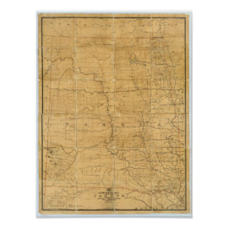 Post route map of the Territory of Dakota Poster