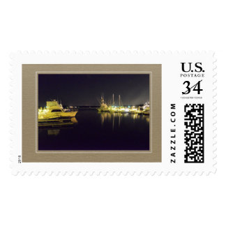 Post-stamp with an image of Boats at Marina. Postage Stamp