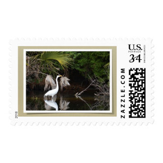 Post-stamp with an image of White Egret. Postage