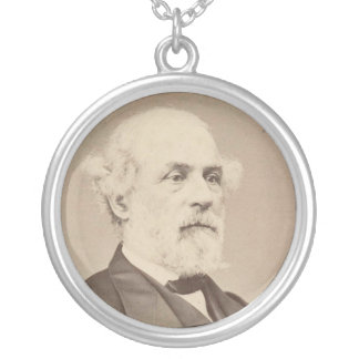 Post War Portrait of General Robert E. Lee Silver Plated Necklace