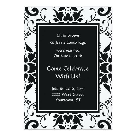 Post Wedding Party Invitation: Post Wedding Announcement Party Invitation Damask