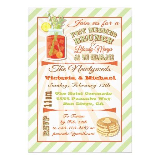 Post Wedding Brunch And Bloody Marys Invitation 5 X 7 Invitation Card