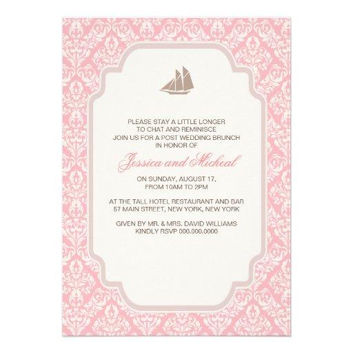 Post Wedding Brunch Invitations Pink Damask 5 X 7 Invitation Card