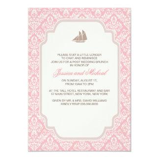 "Post Wedding Brunch Invitations Pink Damask 5"" X 7"" Invitation Card"