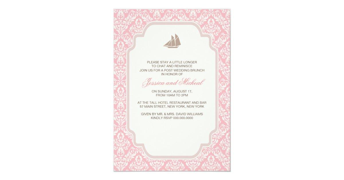 Post Wedding Brunch Invitations Pink Damask