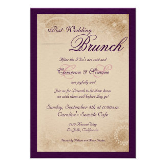 Post-Wedding Brunch -Script Purple Invitation