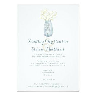 Post Wedding Invitation | Mason Jar, Babies Breath