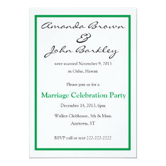 Post Wedding Marriage Celebration Party - greeen Card