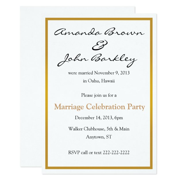 Post Wedding Party Invitations Announcements Zazzle