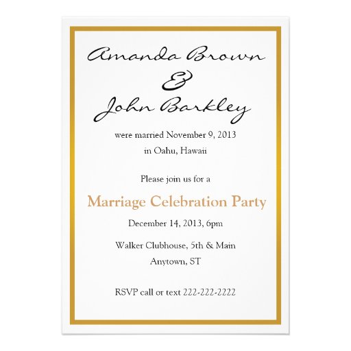 Post Wedding Marriage Celebration Party Personalized Invite