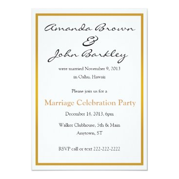 Sideview Post Wedding Marriage Celebration Party Invitation