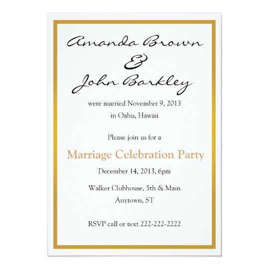 Post Wedding Marriage Celebration Party Invitation
