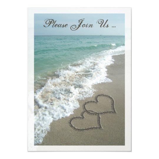 Destination Wedding Reception Ideas: Post-Wedding Reception Destination Beach Hearts Invitation