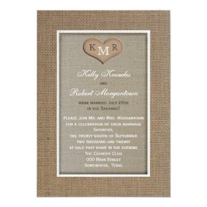 "Post Wedding Reception Invitation -- Burlap 5"" X 7"" Invitation Card"