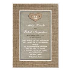 Post Wedding Reception Invitation -- Burlap Custom Invites