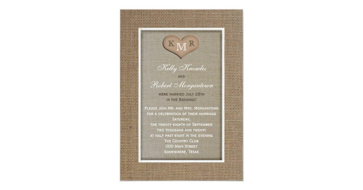 Post Wedding Invitations Reception: Post Wedding Reception Invitation -- Burlap