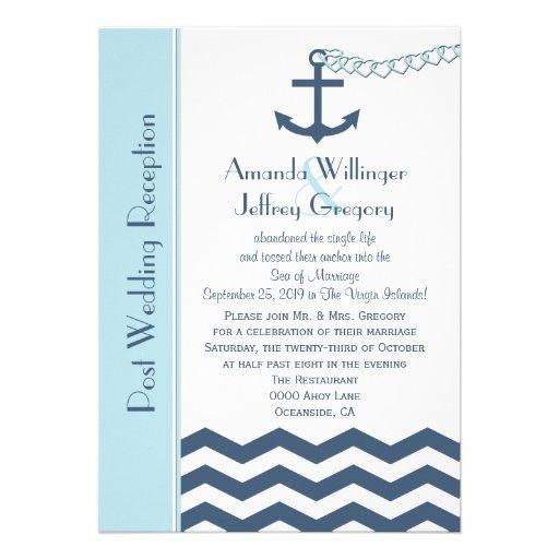 """Post Wedding Reception Invitation - Nautical 5"""" X 7"""" Invitation Card   Zazzle"""