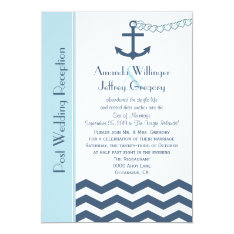 Post Wedding Reception  Invitation - Nautical at Zazzle
