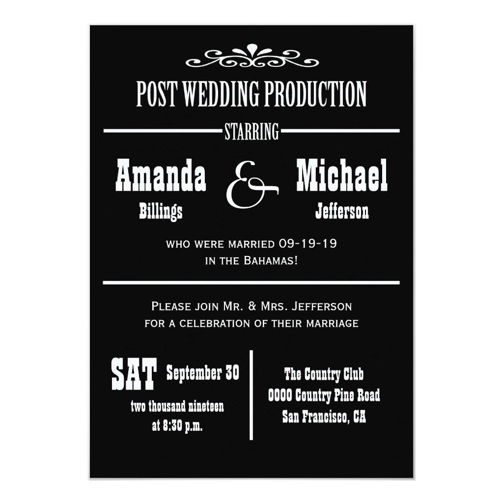 Post Wedding Reception Invitation - Theater Style