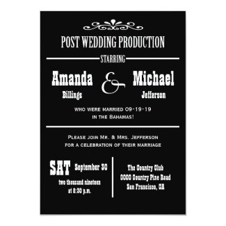 Post Wedding Reception Invitation - Theater Style