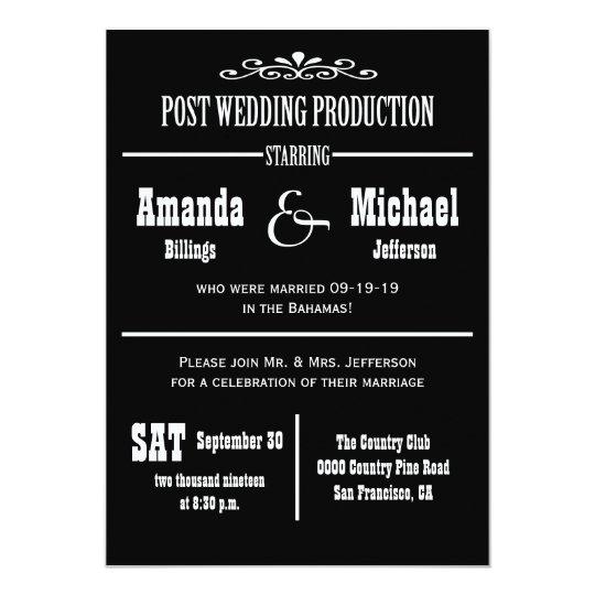 Post Wedding Reception Invitation - Theater Style   Zazzle.com