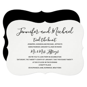Post Wedding Reception Invitation Tied The Knot