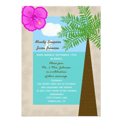 Post Wedding Reception Invitation Tropical 5 X 7 Invitation Ca