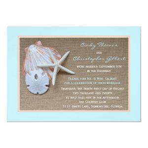 Post Wedding Reception Invitations - Beach Burlap 5