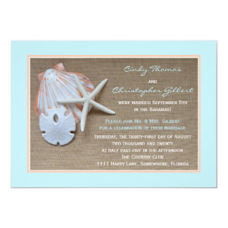 Post Wedding Reception Invitations - Beach Burlap