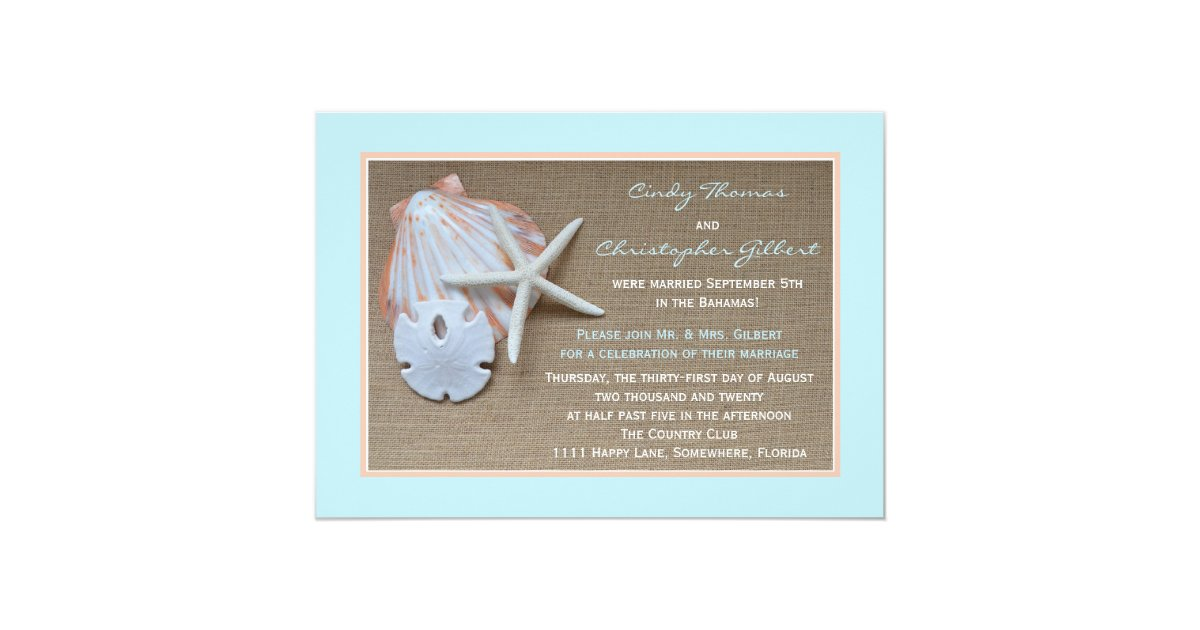 Post Wedding Reception Invitations - Beach Burlap | Zazzle.com