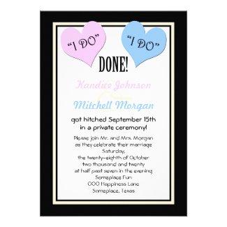 Post Wedding Reception Invitations -- I Do