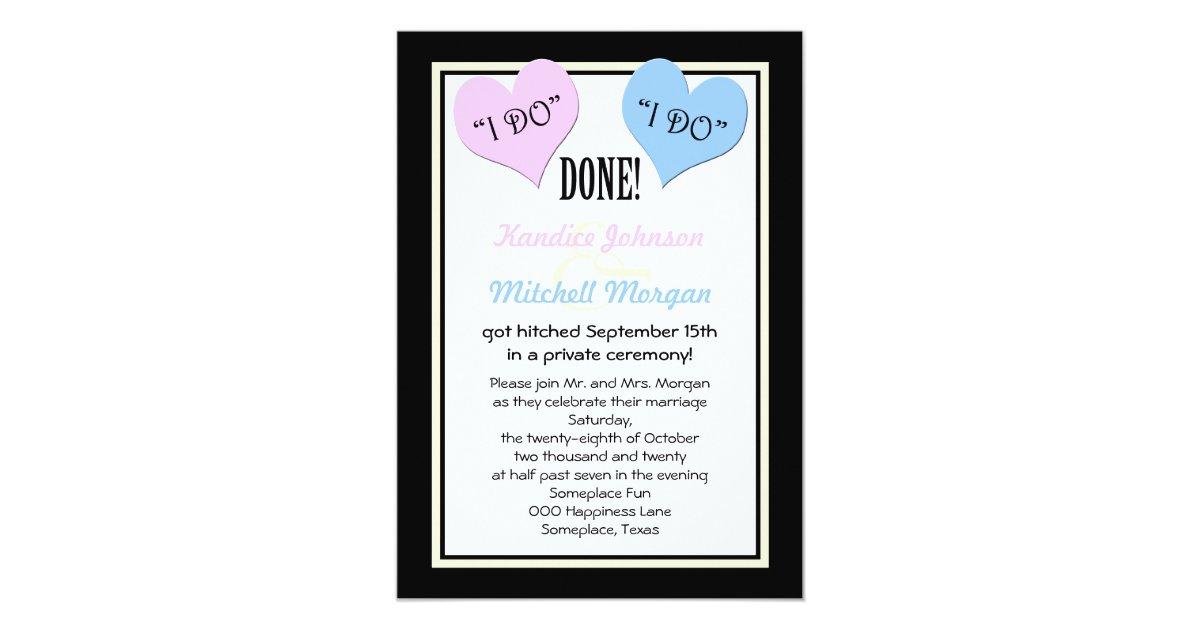 Post Wedding Invitations Reception: Post Wedding Reception Invitations -- I Do