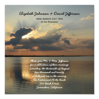 "Post Wedding Reception Invitations - Sunset 5.25"" Square Invitation Card"