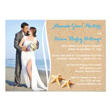 Beach Themed Post Wedding Reception Only Photo Template Invite