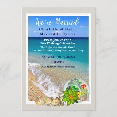 Post Wedding Reception Party Sunny Beach Scene Car Invitation