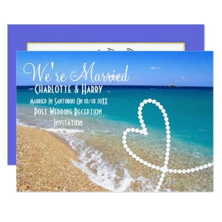 Post Wedding Reception Party Sunny Beach Scene Card