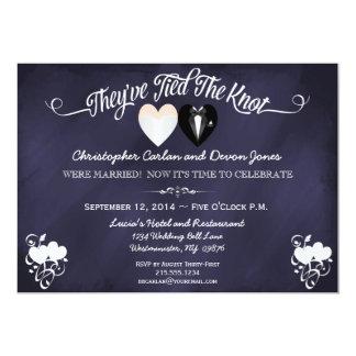 "Post Wedding Trendy Blue Chalkboard Invitation 5"" X 7"" Invitation Card"