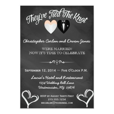 Post Wedding Reception Invitation  Chalkboard  ZazzleCom