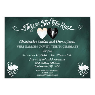 "Post Wedding Trendy Teal Chalkboard Invitation 5"" X 7"" Invitation Card"