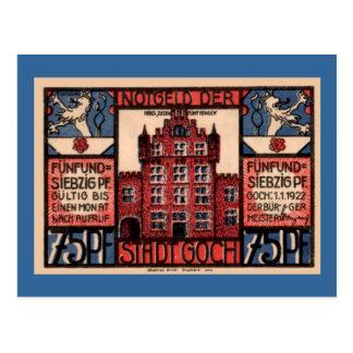 "Post WW1 German Currency 75 Pfennig ""Stadt Goch"" Postcard"