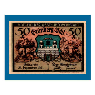 Post WW1 German Fifty Pfennig Note Postcard