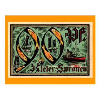 """Post WWI German """"Kieler Sprotten"""" Currency Postcard"""