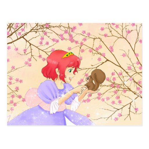Postacrd rojo de la princesa y de la ardilla del postales