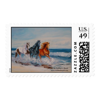 Postage, 3 horses in the surf postage