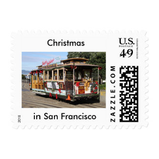 """Postage, 49 cents, cable car, """"Christmas in SFO"""" Postage Stamp"""