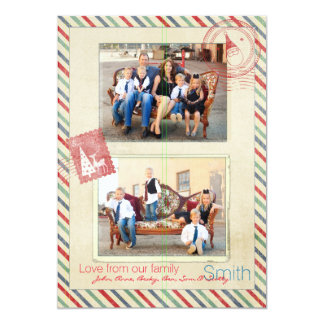 Postage And Stripes Photo Christmas Card