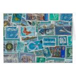 Postage Bleu Greeting Card