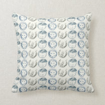 Postage Cancellation Stamp Repeat on Natural Throw Pillow